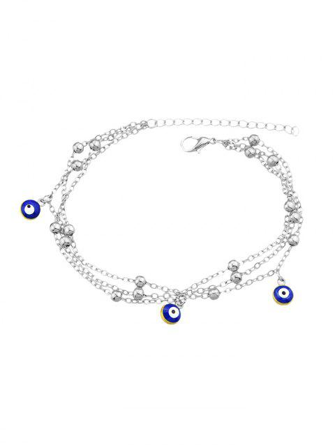 Single Eye Decoration Chain Anklet - SILVER