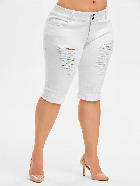 Plus Size Distressed Knee Length Jeans - WHITE 2X