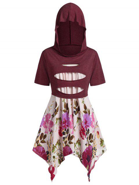 Plus Size Floral Asymmetric Cami With Hooded Ripped Top - RED WINE L