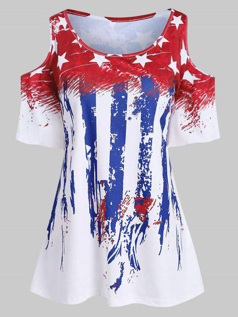 Plus Size American Flag Flare Sleeve T Shirt - RED 2X