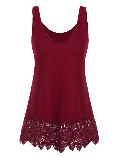 Plus Size Sleeveless Lace Insert Top - RED WINE 4X