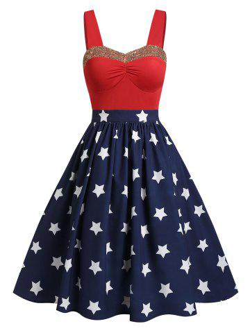770421009aa American Flag Print Sequined A Line Dress