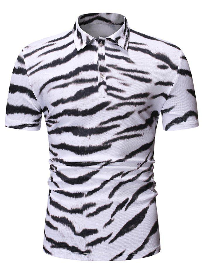 Tiger Printed Short Sleeves T-shirt - WHITE L