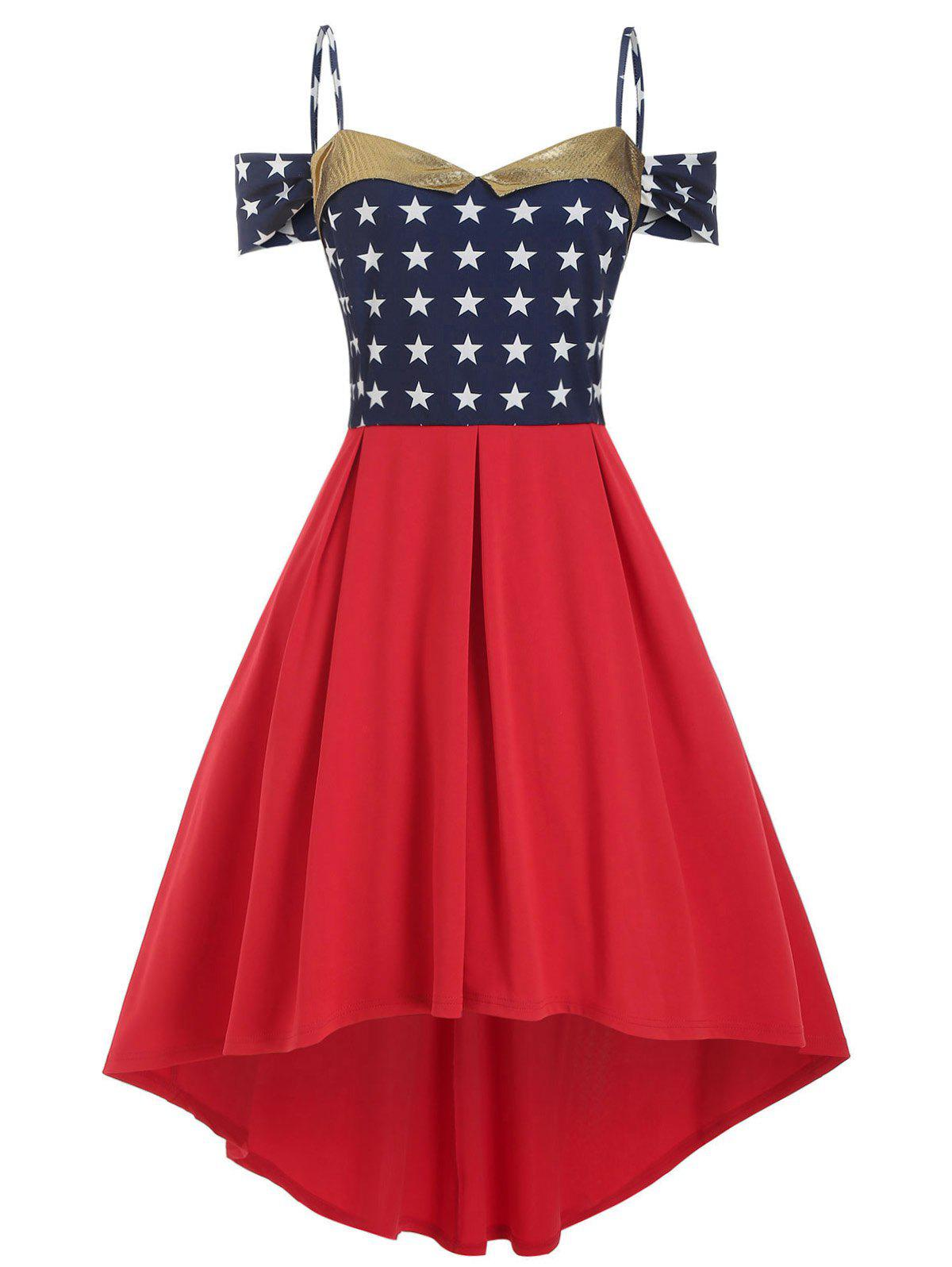 Stars Open Shoulder High Low Cami Plus Size Dress - RED 4X