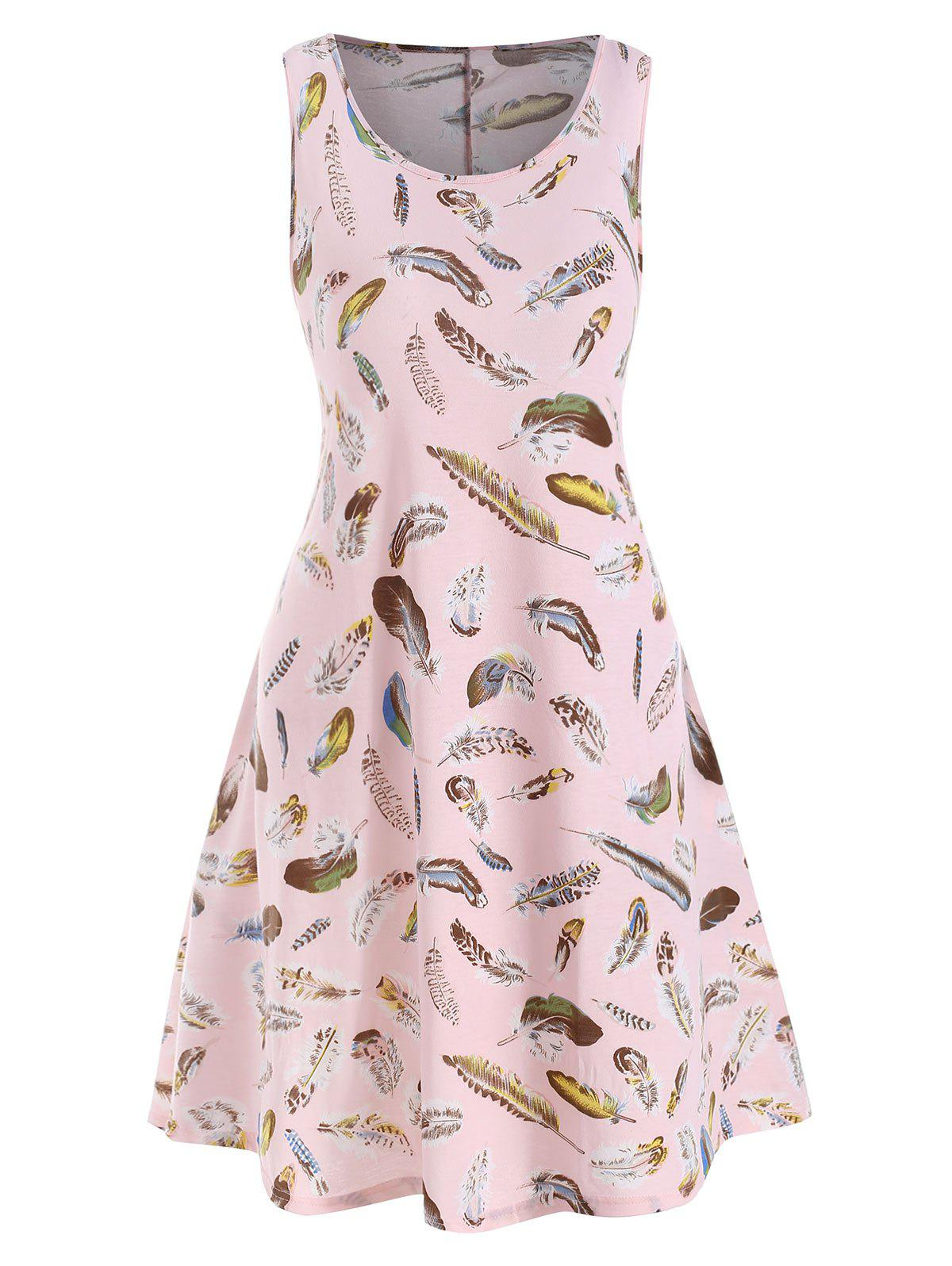 Feather Print Seam Pockets Sleeveless Plus Size Dress - PINK L