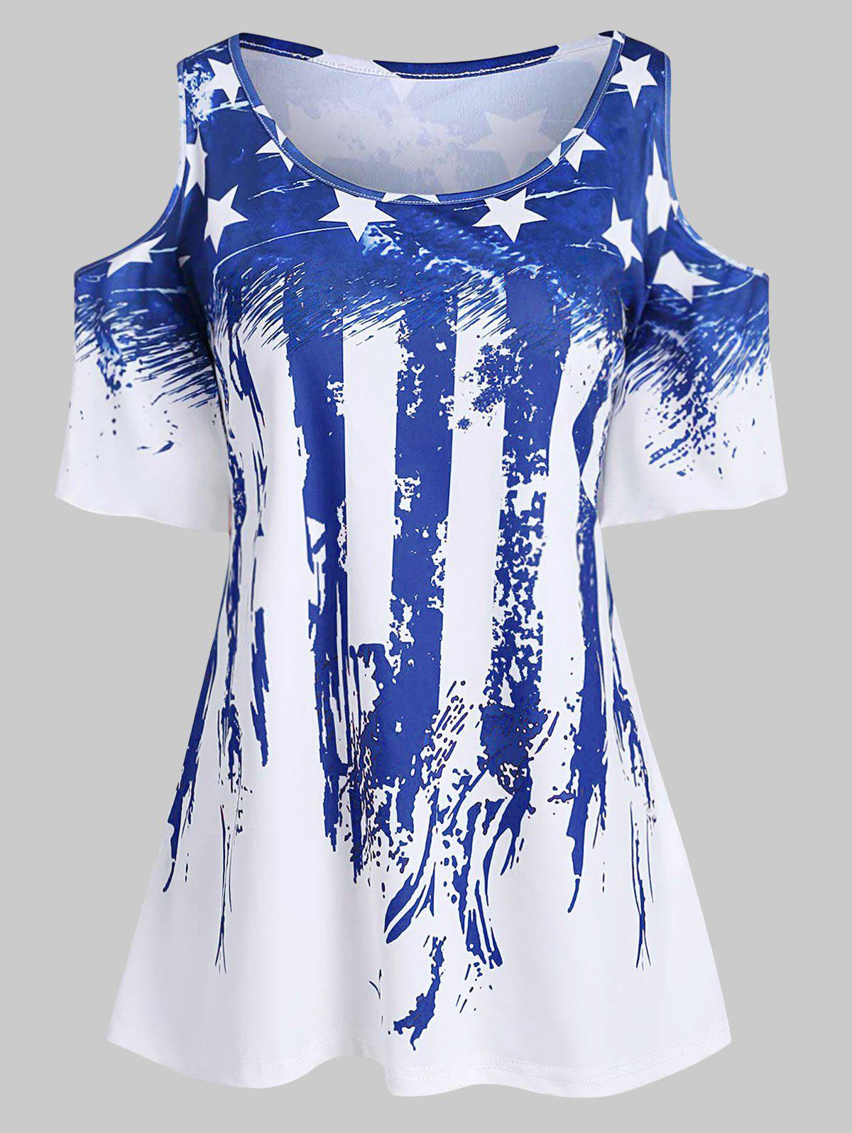 Plus Size American Flag Flare Sleeve T Shirt, Blue