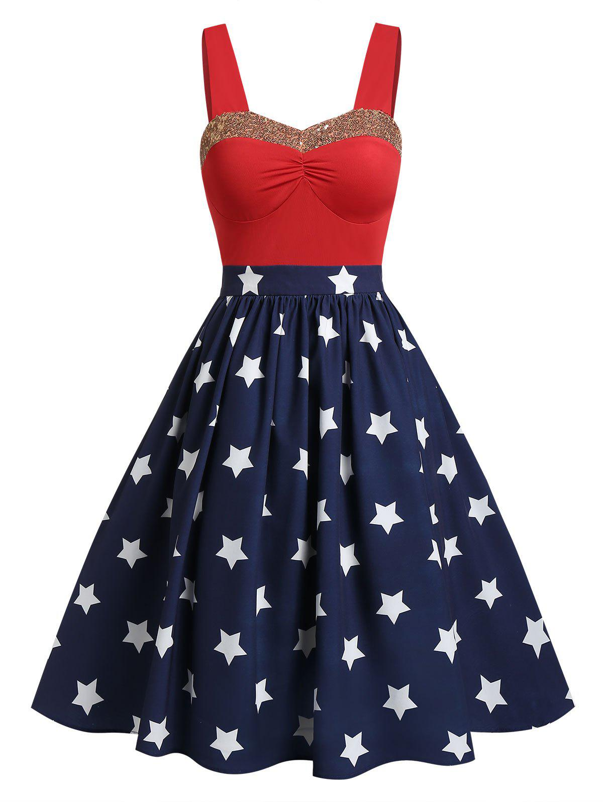American Flag Print Sequined A Line Dress - RED L
