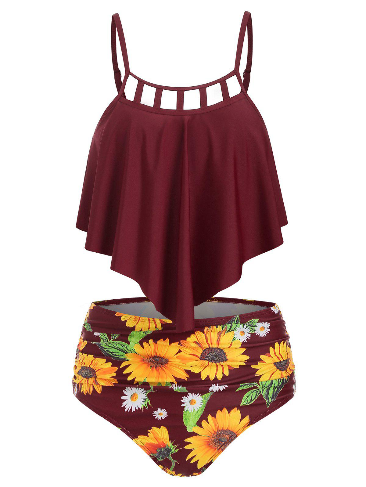 Cut Out Sunflower Overlay Tankini Set - RED WINE 3XL