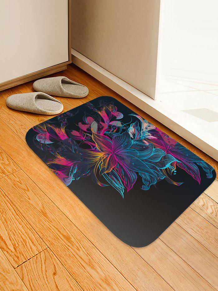 Floral Pattern Design Floor Mat - DULL PURPLE W16 X L24 INCH