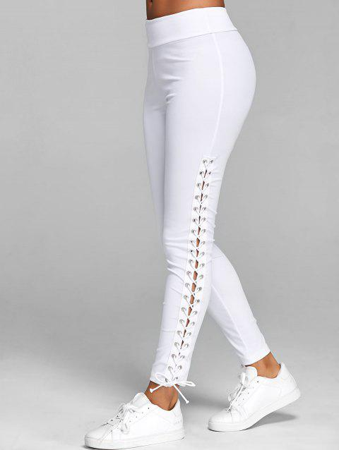3586827c82 17% OFF] 2019 Lace Up Elastic Waist Leggings In WHITE | DressLily