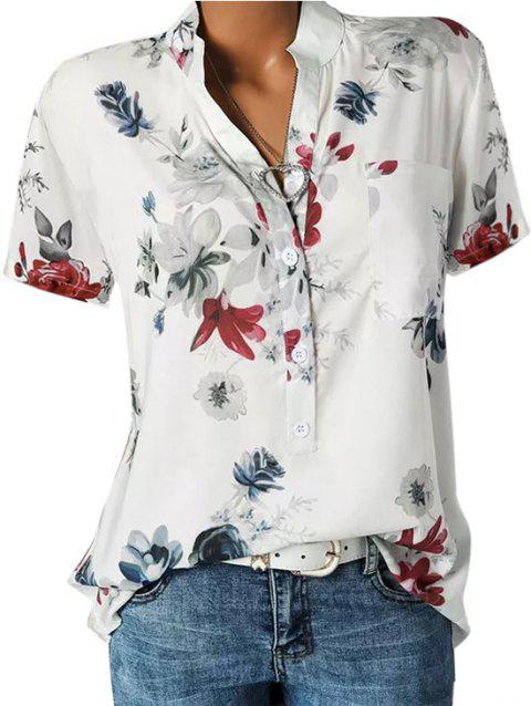 Front Pocket Floral Tunic Top - WHITE 2XL