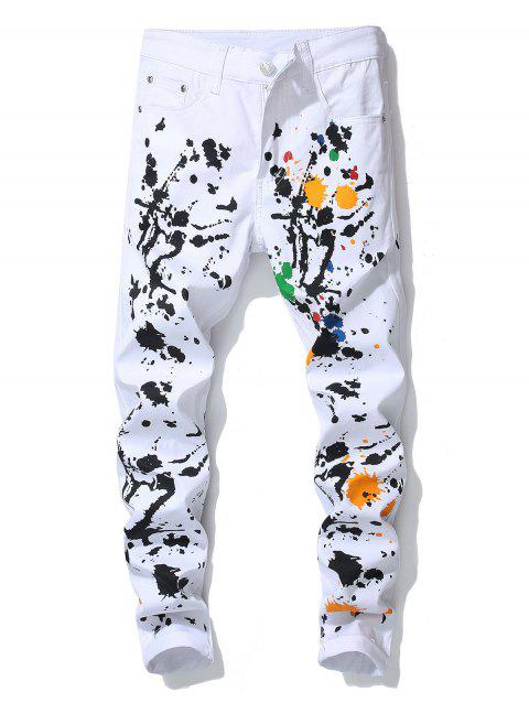 Splatter Painting Decoration Casual Jeans - WHITE 36
