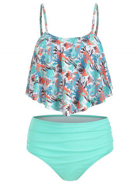 Seahorse Print Ruched Overlay Tankini Swimsuit - TURQUOISE L