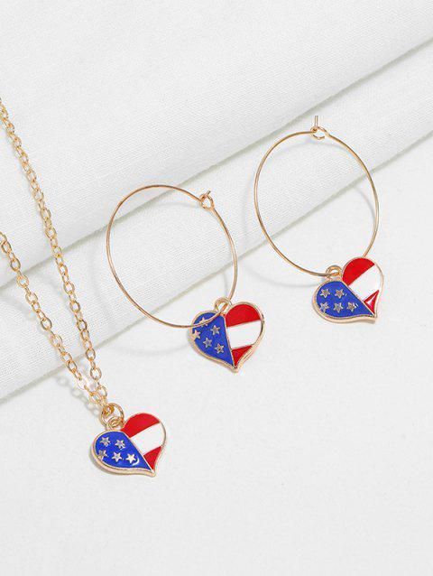 American Flag Necklace and Earrings - multicolor B