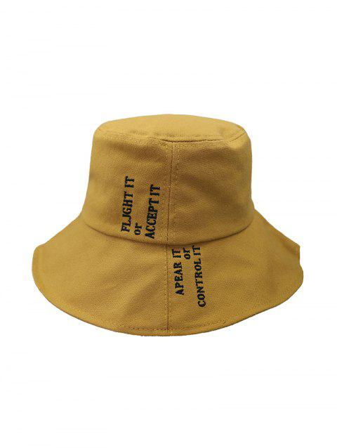 Letter Embroidery Casual Bucket Hat - CARAMEL