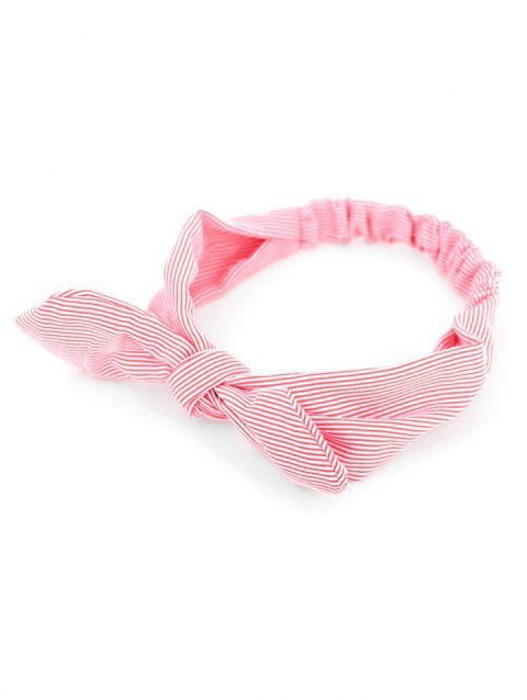 Bow Striped Stretchy Headband - RED
