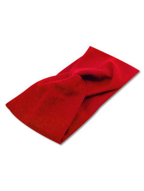 Solid Color Cross Design Headband - RED WINE