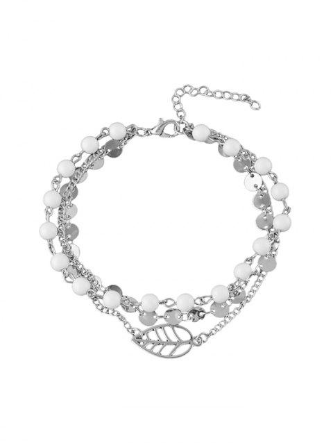 Beading Multilayered Alloy Chain Anklet - SILVER