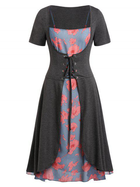Plus Size Floral Print Cami Dress with Solid T Shirt - BLUE GRAY 5X