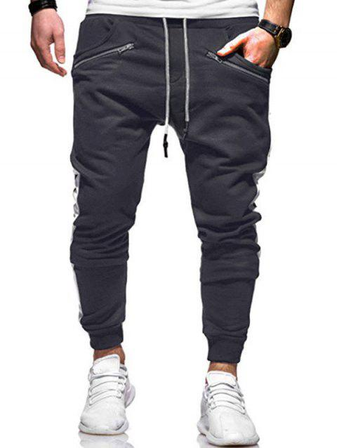 Zipper Decoration Drawstring Jogger Pants - CARBON GRAY L