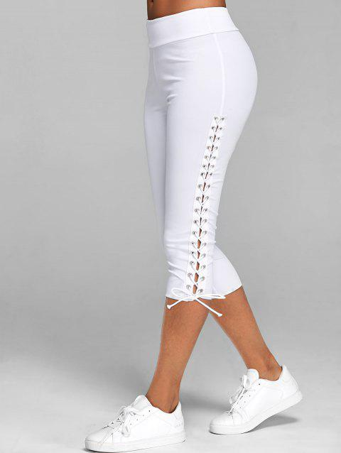 Legging Court Moulant à Lacets - Blanc 3XL