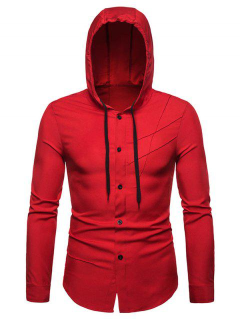 Solid Color Hooded Long Sleeves Shirt - LAVA RED 2XL