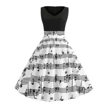 musical note print dress