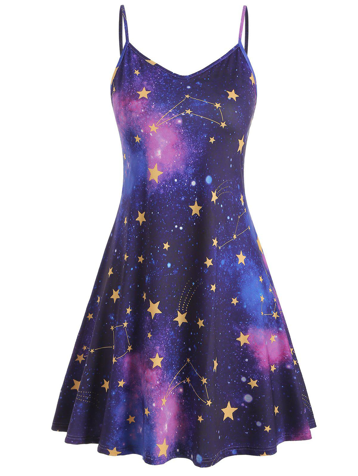 Galaxy Print Plus Size Trapeze Dress - PURPLE IRIS 5X