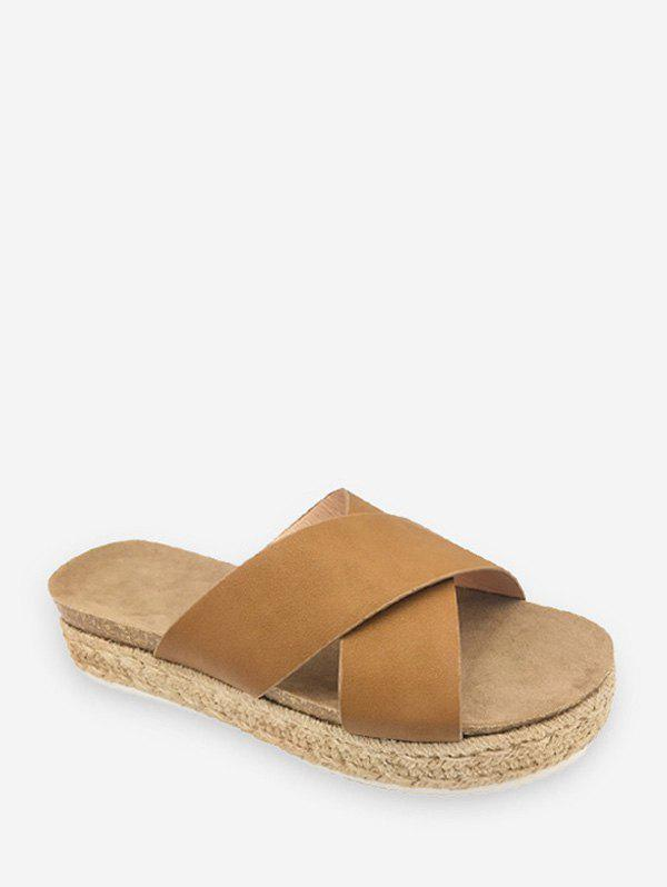 Cross Strap Platform Espadrille Slides - LIGHT BROWN EU 38