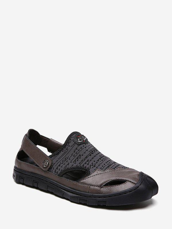 Patch Cutout Fisherman Sandals - DARK GRAY EU 44
