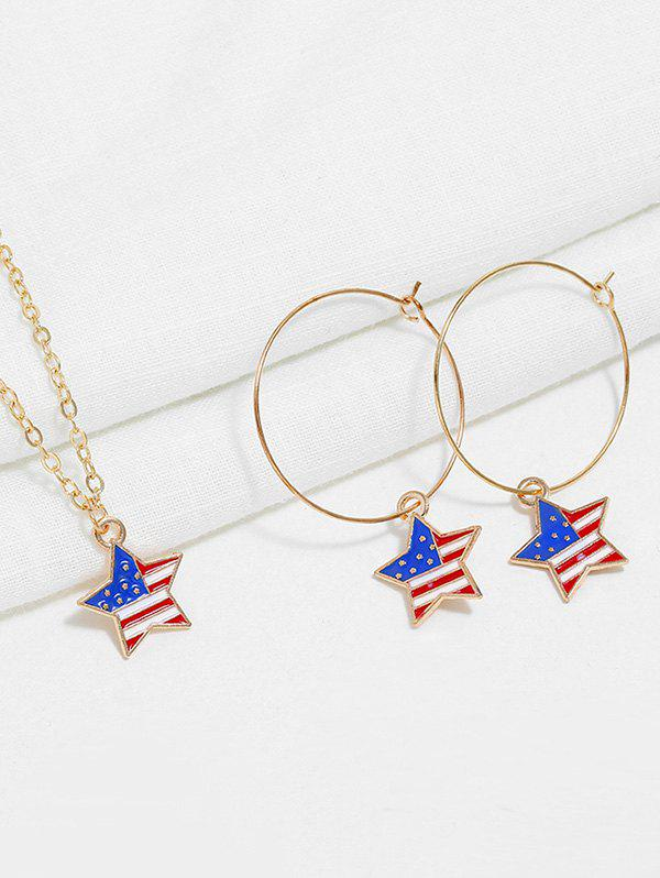 American Flag Necklace and Earrings - multicolor A