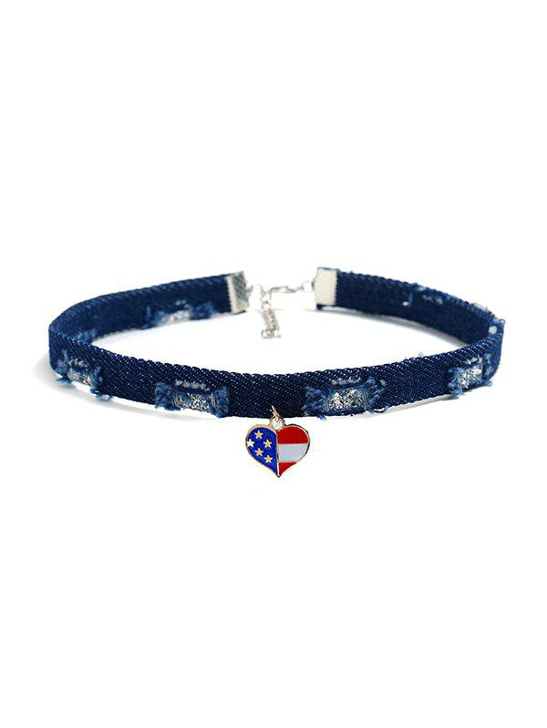 Jeans Flag Pattern Choker Necklace - multicolor C