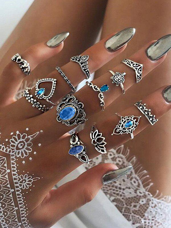 13Pcs Vintage Hollow Faux Gem Ring Set - SILVER