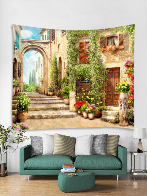 Retro Architecture Print Tapestry Wall Hanging Art Decoration - GREEN W79 X L59 INCH