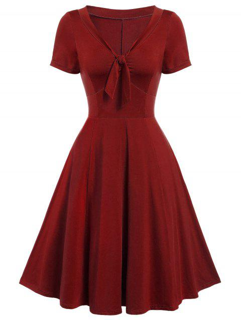 Vintage Bow Tie Pin Up Dress - RED WINE 3XL