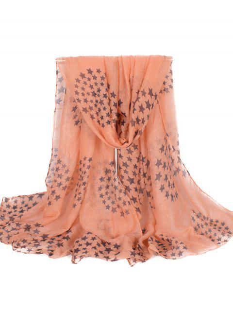 Star Print Extra Long Scarf - LIGHT SALMON