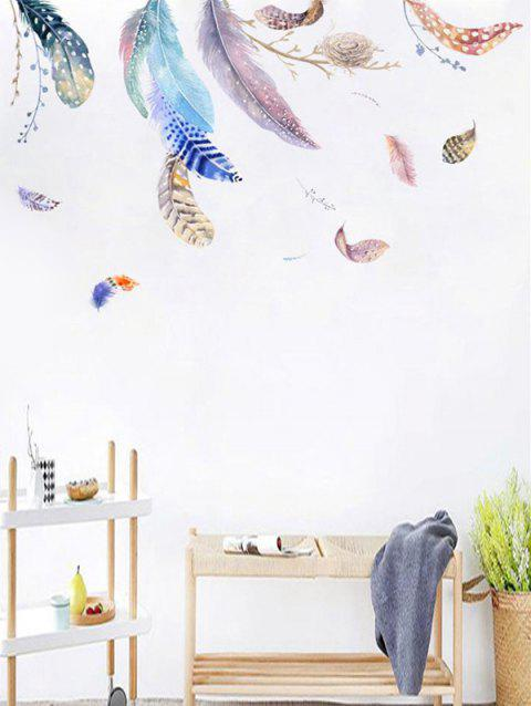 Feathers Printed Removable Wall Art Stickers - WHITE 140*80CM