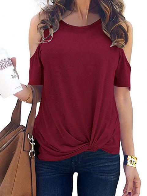 Open Shoulder Twisted Short Sleeve T-shirt - RED WINE M