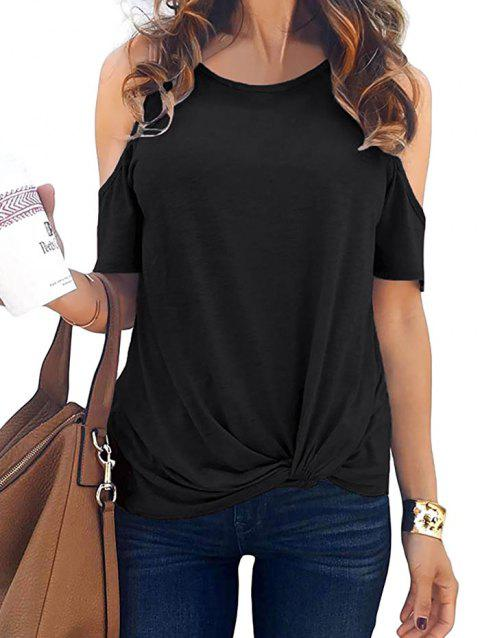 Open Shoulder Twisted Short Sleeve T-shirt - BLACK M