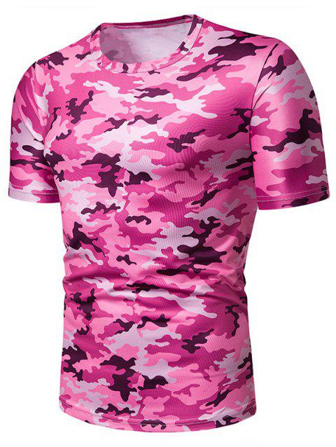 Camouflage Print Leisure Short Sleeves T-shirt - PINK 2XL