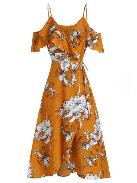 Open Shoulder Flower Print Wrap Dress - ORANGE GOLD M