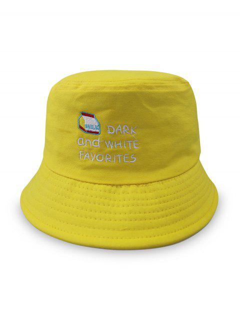 Letter Embroidery Leisure Bucket Hat - YELLOW