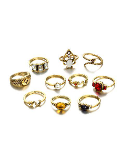 10Pcs Heart Faux Gem Ring Set - GOLD