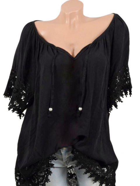 Plus Size Crochet Trim Tunic Blouse - BLACK 1X