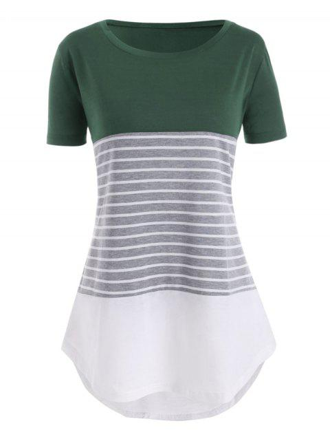 Contrast Stripes High Low Plus Size Tee - GREEN 6X