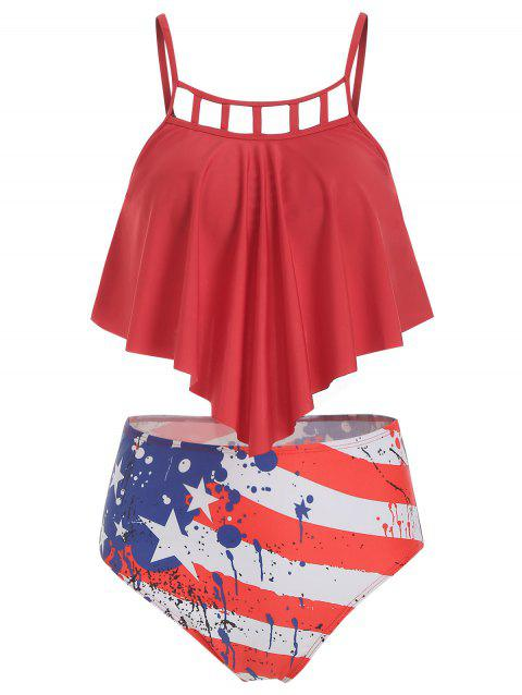 Cut Out American Flag Overlay Tankini Swimsuit - RED XL