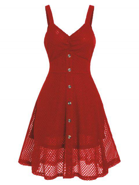 Fishnet Buttoned A Line Dress - VALENTINE RED 2XL