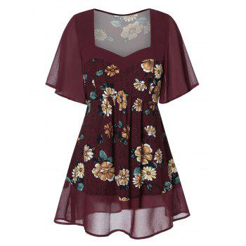Plus Size Sweetheart Neck Floral Blouse
