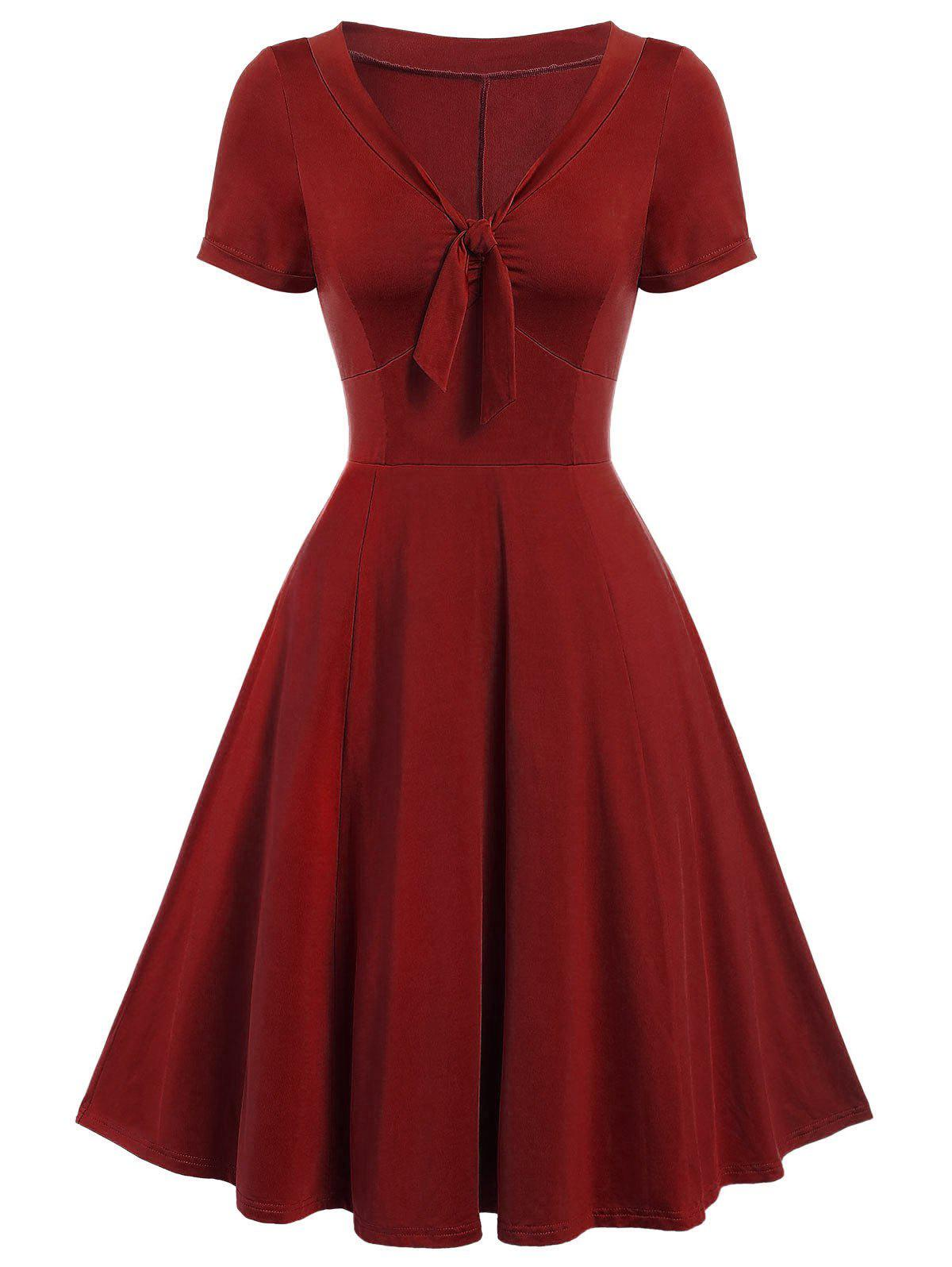 Vintage Bow Tie Pin Up Dress - RED WINE XL