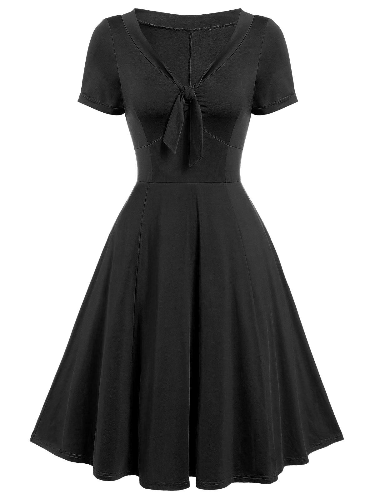 Vintage Bow Tie Pin Up Dress - BLACK XL